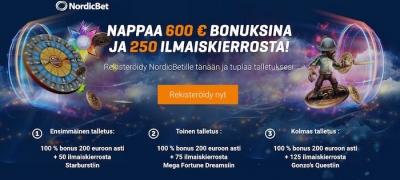 NordicBetin uusittu bonus - ilmaiskierroksia tarjolla nyt 250 kappaletta!
