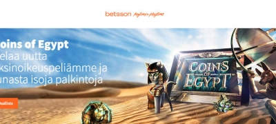Ilmaiskierroksia, käteistä ja bonusta tarjolla Betssonin Coins of Egypt -turnauksessa!