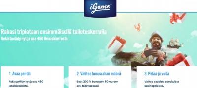 iGame pisti uuden pelaajan edut uusiksi – Tarjolla 200% bonus ja 450 ilmaiskierrosta!